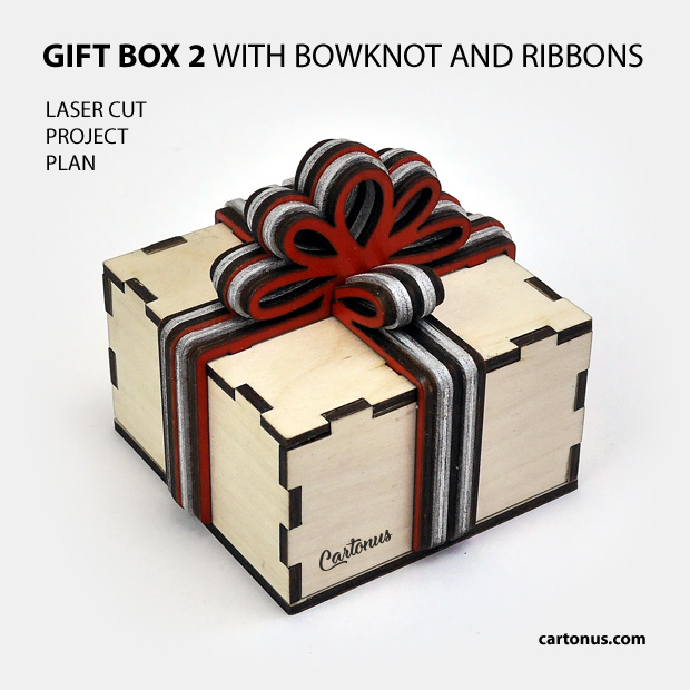 Gift box with layered wooden bowknot and ribbons. Pattern 2