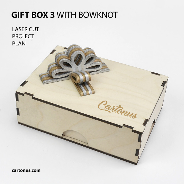 Gift box with layered wooden bowknot. Pattern 3