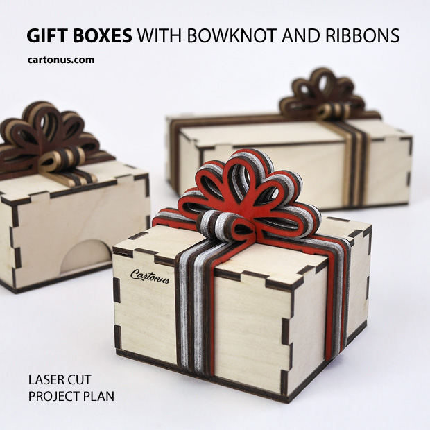 Gift box with layered wooden bowknot and ribbons. Patterns for laser cut