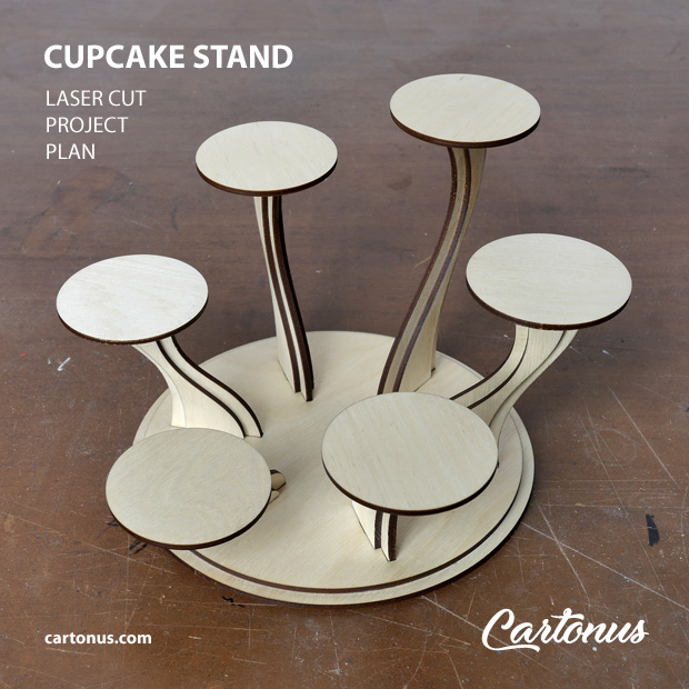 Cupcake stand, serving stand, photo stand. Lasercut vector model project plan