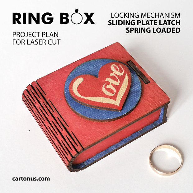 Ring box, jewelry box, small gift box. Project plan for laser cutting