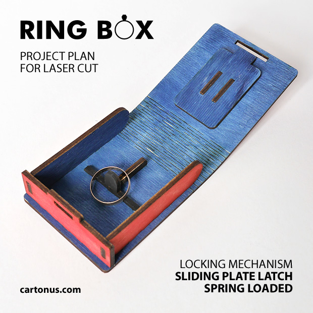 Open gold ring box, jewelry box, small gift box. Project plan for laser cutting