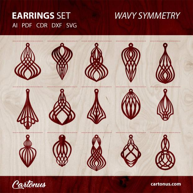 15 different earrings vector templates Wavy symmetry. Earrings set templates for laser cut