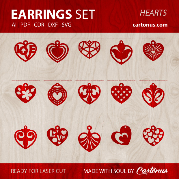 15 different earrings vector templates Hearts. Earrings set templates for laser cut