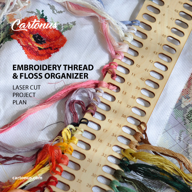 Embroidery thread & floss organizer. Vector template / Pattern for laser cutting.