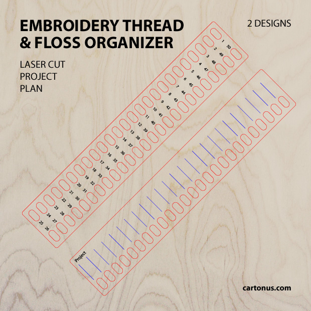 Embroidery thread & floss organizer. Vector file template / Pattern for laser cutting.